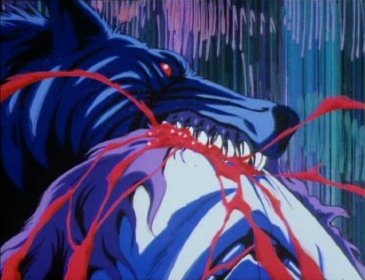 Werewolf eating a horse