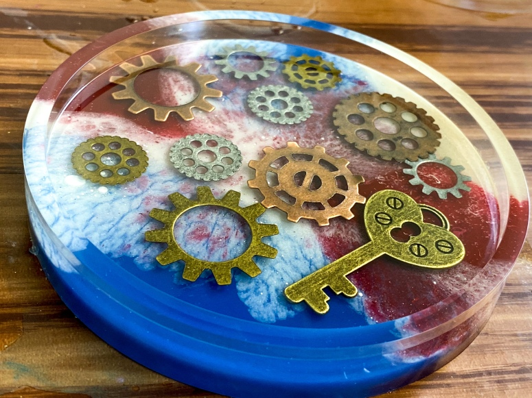 Steampunk coaster set with custom colors (commission).