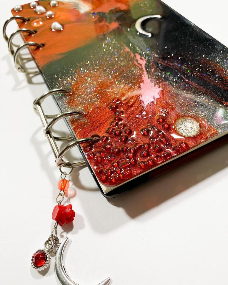 Mixed media refillable journal cover.