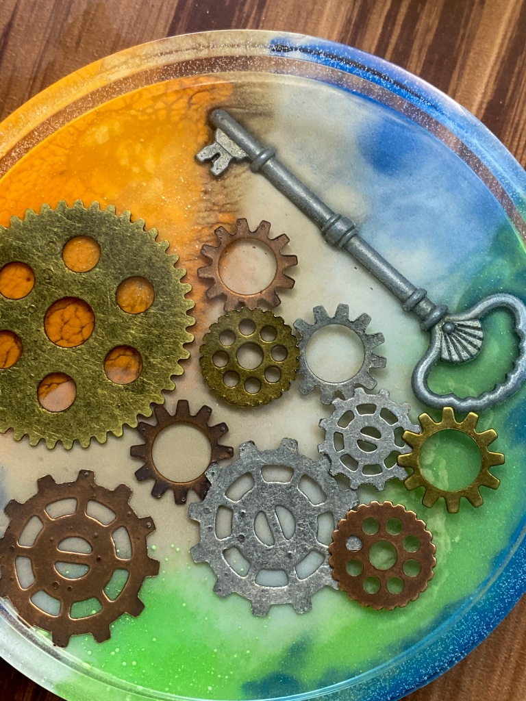 Custom steampunk coaster set (commission).