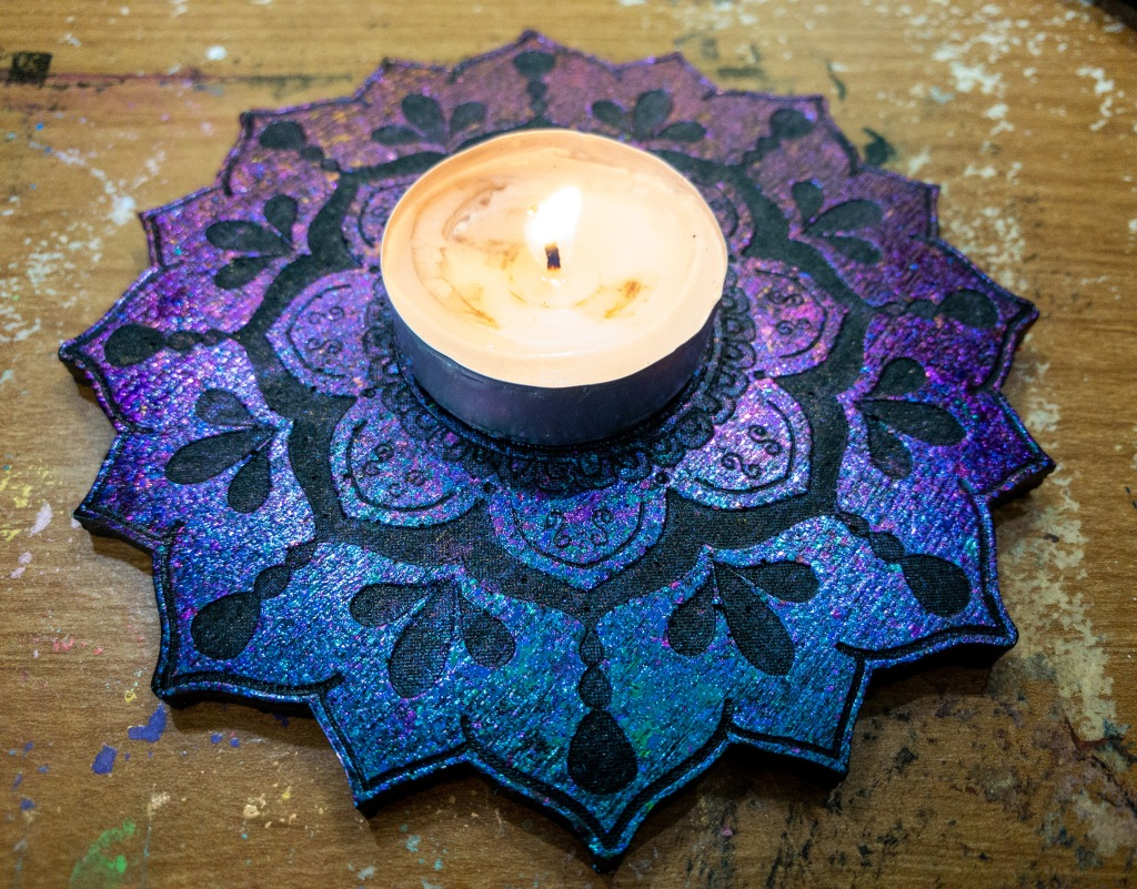 Purple to blue color shift mandala tray.