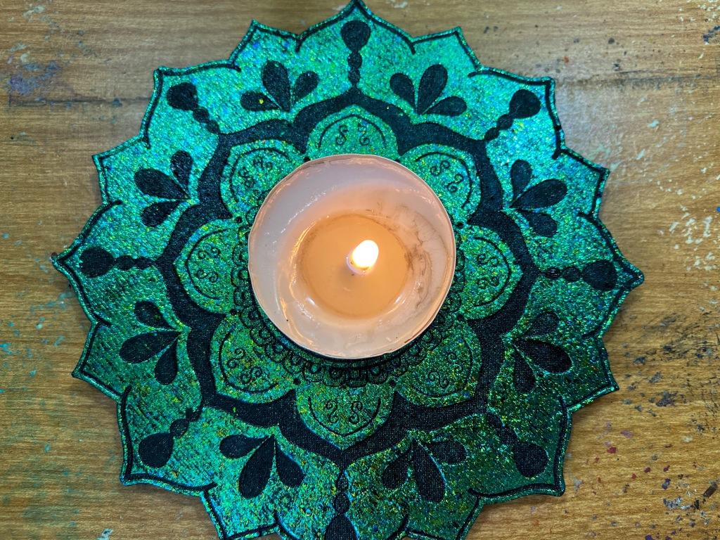 Green mandala tray.