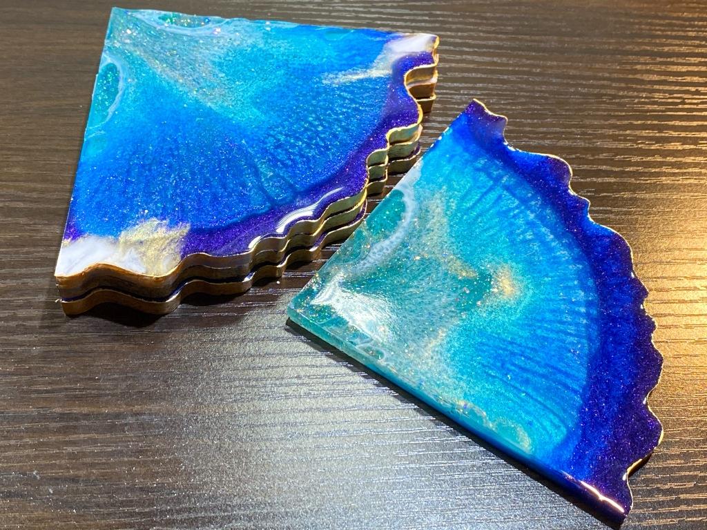 Ocean agate geode coaster set.
